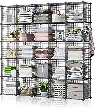 GEORGE&DANIS Wire Cube Storage Shelf Rack Multi-use Bookcase Bookshelf Stackable Metal Wardrobe Closet Organizer, Black, 14 inches Depth, 5x5 Tiers
