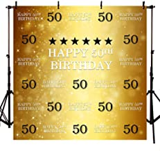 MEHOFOTO 8x8ft Gold 50th Birthday Photography Backdrop Adult Step and Repeat Golden Glitter Shiny Black Stars Background Fabulous Fifty Party Decoration Photo Banner Poster Props