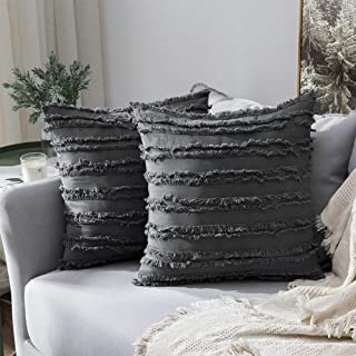 MIULEE Set of 2 Decorative Boho Throw Pillow Covers Cotton Linen Striped Jacquard Pattern Cushion Covers for Sofa Couch Living Room Bedroom 16x16 Inch Dark Grey