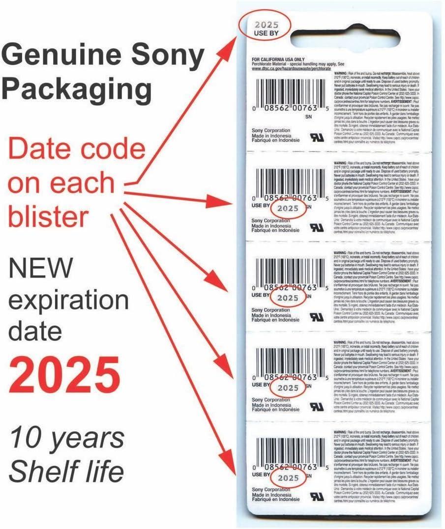 SONY CR2025 3V Lithium Coin Battery Expire 2026 FRESHLY NEW - USA 2 Pack