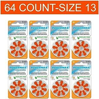 Powermax Size 13 Hearing Aid Batteries, Orange Tab, Zinc Air Mercury-Free, HearRite, 64 Count