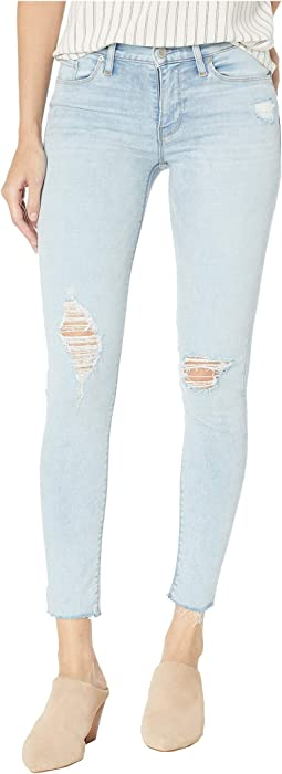 Nico Mid-Rise Ankle Raw Hem Skinny Jeans in Worn Crystal Blue