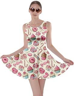 Womens Cookies Lollipop Candy Macaroon Icecream Coffee Food Dessert Skater Dress, XS-5XL