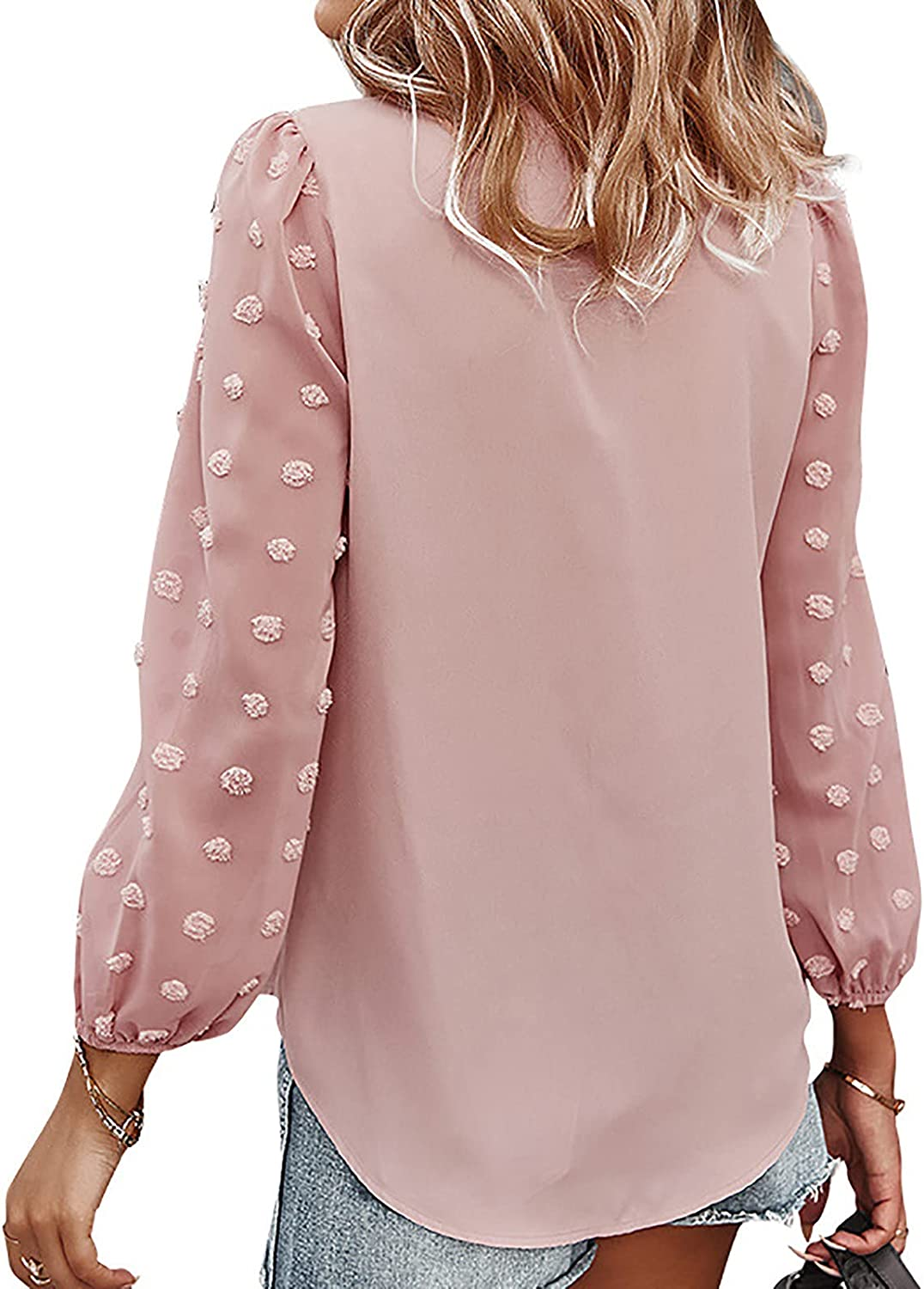 Womens V Neck Lace Crochet Pom Pom Flowy Long Sleeve Casual T Shirts Blouses Tops