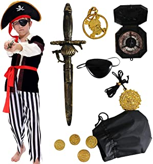 Pirate Costume Kids Deluxe Costume Pirate Sword Compass Earring Purse Coins Medallion Pirate Accessories for Halloween Party