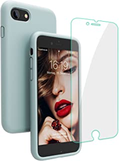 JASBON iPhone 8 Hülle, iPhone 7 Hülle, iPhone 7/8 Silikon Handyhülle Schutzhülle Bumper Case Schutz vor Stoßfest/Scratch Cover mit Kostenfreier Schutzfolie für iPhone 7 iPhone 8 Mintgrün
