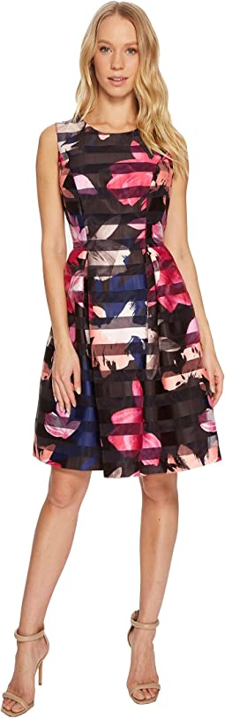 Vince Camuto Printed Shadow Stripe Fit and Flare Dress