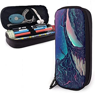 Leathe Pencil Case,Venom Big Capacity Pencil Pen Case for Office and School Supplies with Double Zipper Pen Holder