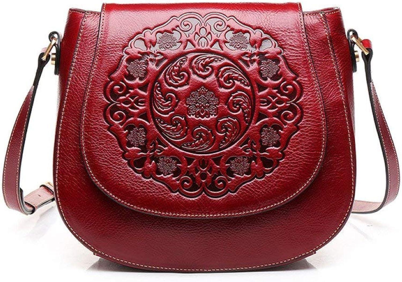 Evening Bag Summer Crossbody Bag Vintage Embossed Saddle Bag Fashion Shoulder Leather Bag Party Handbag (color   Red, Size   27.511.522.5cm)