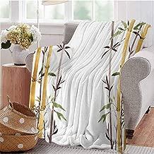 CRANELIN All Season Throw Blanket Bamboo Grove Calm Your Mind Slow Down Zen Relax Hand Drawn Style Artwork Cream Brown White Bedroom Dorm Sofa Baby Cot Beach W40 xL60