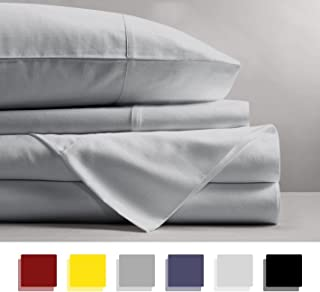 600 Thread Count 4-Piece 100% Cotton Sheets - Light Grey Long-staple Cotton Queen Sheets, Fits Mattress Upto 18'' Deep Pocket, Sateen, Soft Cotton Bed Sheets and Pillowcases