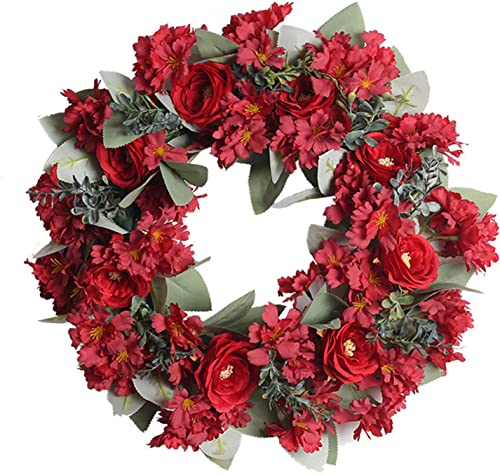 high quality Valentines Day Decor Handmade Pink Peony Wreath Floral Artificial Simulation Garland Wreath Pink Wreath Christmas Wreath Ornament outlet online sale for Front Door new arrival Wedding Party Decoration 17 inch outlet sale