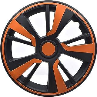 OMAC Tampa para aro de roda fosca preta | Conjunto de tampas de cubo de acessórios para carro | 35,56 cm 4 peças (laranja)