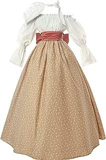 NSPSTT Women Colonial Prairie Pioneer Dress Costume Civil War Trek Blouse Skirt Suit Set with Bonnet