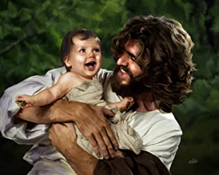 "Deb Minnard ""Jesus and Laughing Baby"" by Award Winning Artist, Wil Bring Laughter and Joy to Your Home with This 8x10, Print That Will Last a Lifetime. Great Collectors Item."