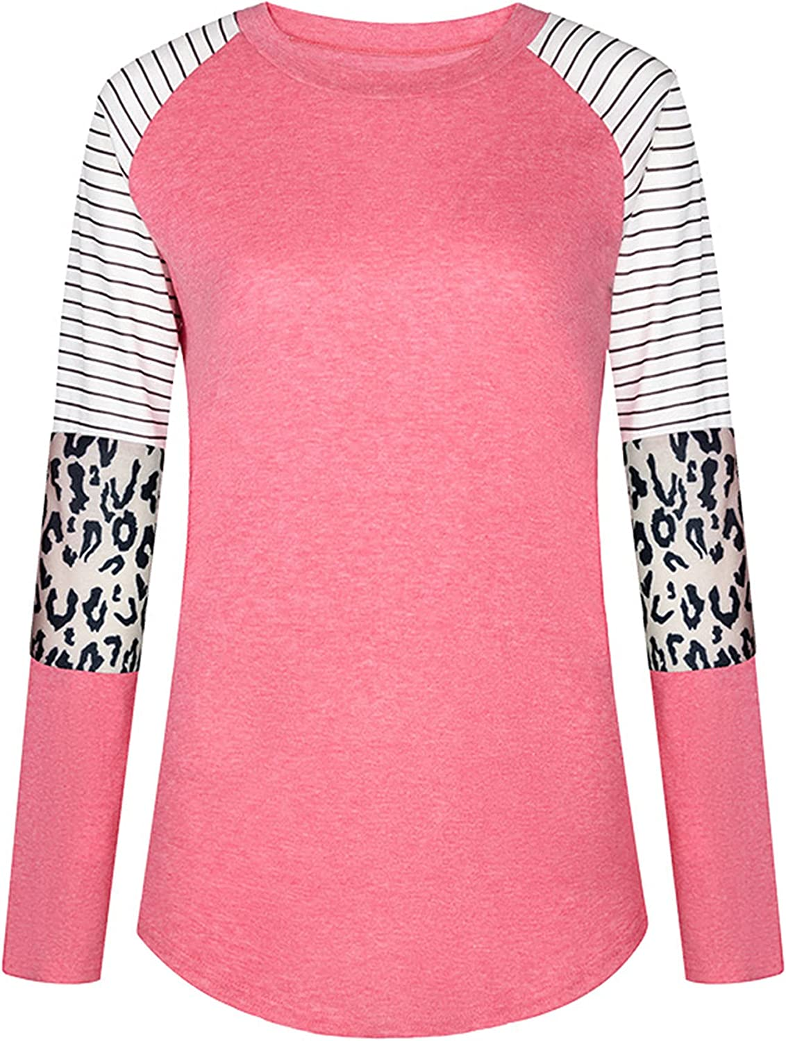 Andongnywell Women's Long Sleeve Leopard Contrast Color Block Tunic Comfy Stripe Round Neck T Shirt Tops