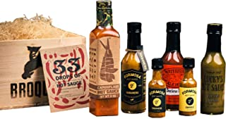 Hot Sauce Gift Set (5 Hot Sauces & Tasting Journal) - Comes in a Wooden Gift Crate - Hot Sauces Collection - Sampler Gift Set - Great Gift For Men