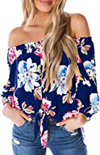 ♡QueenBB♡ Womens Floral Print Off Shoulder 3/4 Bell Sleeve Shirt Tie Knot Summer Blouses Tops T Shirts