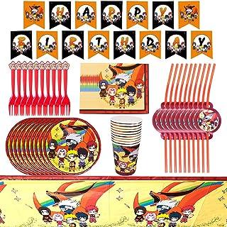 Babioms Naruto Fournitures de fête d'anniversaire,62pcs Vaisselle Fête d'anniversaire, Assiettes, Tasses,pailles, Serviett...