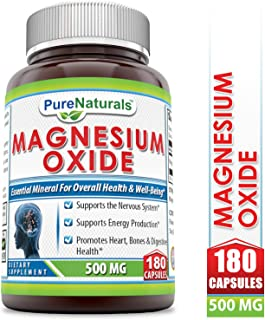 Pure Naturals Magnesium Oxide Supplement - 500mg, 180 Capsules- Supports Nervous System* -Supports Nervous Production* -Promotes Heart, Bone & Digestive Health*