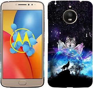 Moto E4 Plus Case - Space Galaxy Wolf Face Hard Plastic Back Cover. Slim Profile Cute Printed Designer Snap on Case Glisten