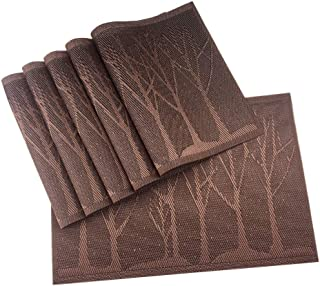 Gugrida Place Mats PVC Set of 6, Table Placemats Set of 6 PVC Washable Woven Vinyl Place Mats Heat Insulation Top Meal Mat Table Mats Natural Color (6 pcs, Coffee Tree)