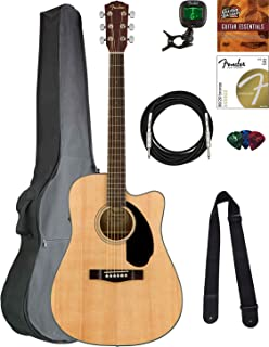 Fender CD-60SCE Dreadnought Acoustic-Electric Guitar - Natural Bundle with Gig Bag, Tuner, Strap, Strings, Picks, Austin B...