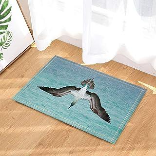GooEoo 野生動物の装飾サファリ動物の鳥赤い足のブービーは水面に急いだバス敷物滑り止めドアマンフロアエントリー屋内フロントマットキッズマット15.7x23.6inバスルームアクセサリー