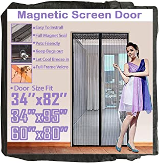 TheFitLife 36''x83'' Magnetic Screen Door Fits Doors up to 34''x82'' Max Full Frame Hook and Loop Heavy Duty Mesh
