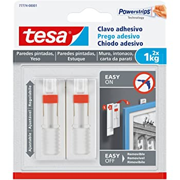 Tesa Clavo adhesivo ajustable, ideal para cuadros, para paredes pintadas y yeso (1 kg)
