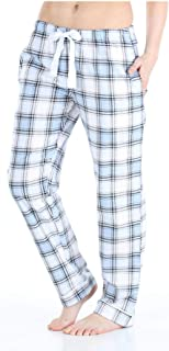 Image of Blue Plaid Pajama Pants for Women - Cotton Flannel