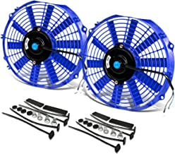 (Pack of 2) 12 Inch High Performance 12V Electric Slim Radiator Cooling Fan w/Mounting Kit - Blue