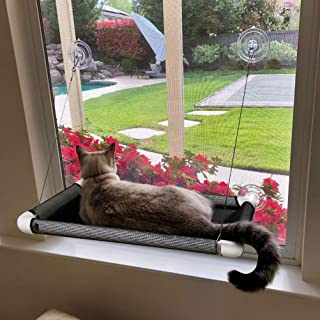 Cat Window Perch, Cat Hammock Window Seat, Space Saving Window Mounted Cat Bed for Large Cats