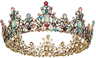 SWEETV Jeweled Baroque Queen Crown - Rhinestone Wedding...