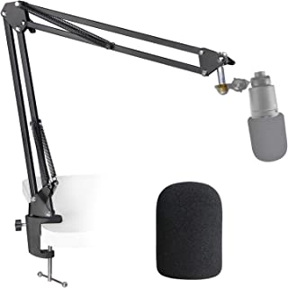 AT2020 Mic Stand with Foam Windscreen - Microphone Boom Arm Stand with Pop Filter for Audio Technica AT2020 AT2020USB+ AT2...