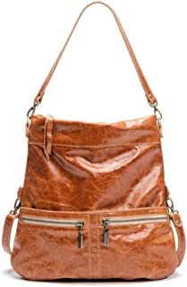 product image for Amber Distressed Leather Medium Convertible Foldover Crossbody