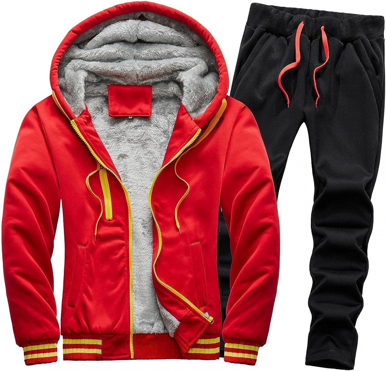 Mens Fuzzy Hoodies Jacket 2 Piece Open Front Cardigan Full Zipper Hooded Outwear Fluffy Fleece Sportswear & Pants Outfit