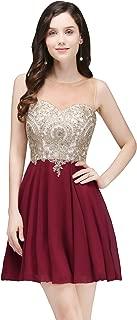 Short Prom Dresses 2017 Rhinestones Gold Lace Homecoming Dress
