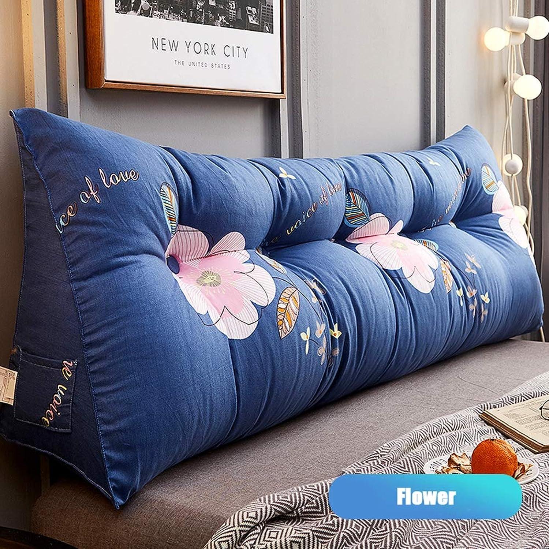 Cale Coussin Amovible lavable Coussin de chevet Coton PP à rebond élevé doux et confortable Coussin lombaire,bleu,80X23X50CM