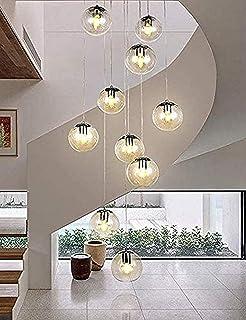 CJDM Lustres d'escalier Multi Boules de Verre Multi lumières Salon Moderne Longue Suspension Lumineuse Bulles de Verre Bou...