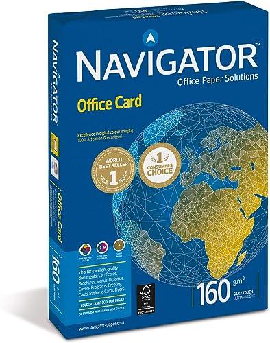 Navigator 381377 Ramette 250 feuilles blanc Office Card A4 160gr pour Imprimante couleur/jet d'encre/laser/copieur