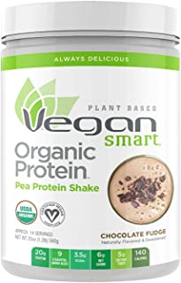 Vegansmart Plant Based Organic Pea Protein Powder by Naturade, 20 Ounce, Chocolate Fudge