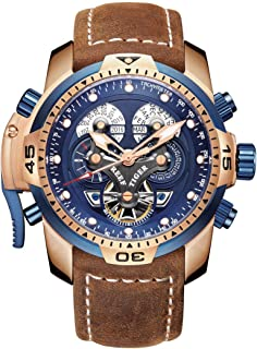Men's Military Watches Rose Gold Complicated Blue Dial Watch Automatic Sport Watches RGA3503