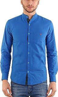 Rapphael Men's Cotton Chinese Collar Plain Blue Color Shirt(RPL-00639)