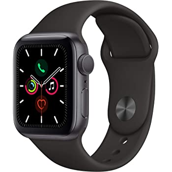 Apple Watch Series 5 (GPS, 40MM) - Space Gray Aluminum Case with Black Sport Band - (Renewed)