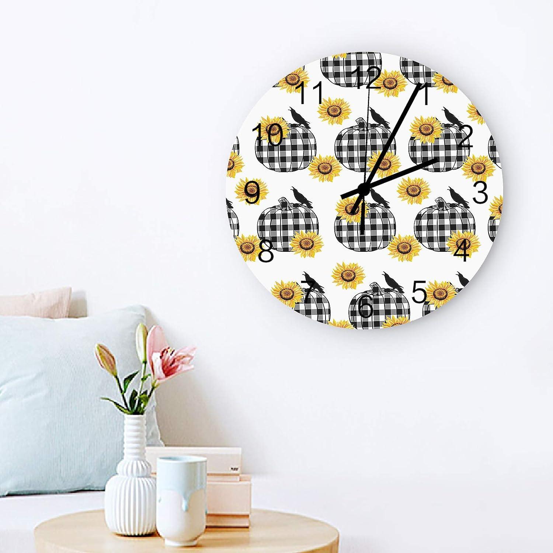 Country Buffalo Checkered Pumpkin Sunflower Clock No Wall Max 54% Columbus Mall OFF Silent