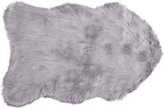 Luxe Faux Fur Luxury Soft Premium Quality Thick & Lush Fade Resistant Shed Free 100% Animal-Free Gordon Faux Sheepskin Area Rug, 2 ft x 3 ft, Sage Grey