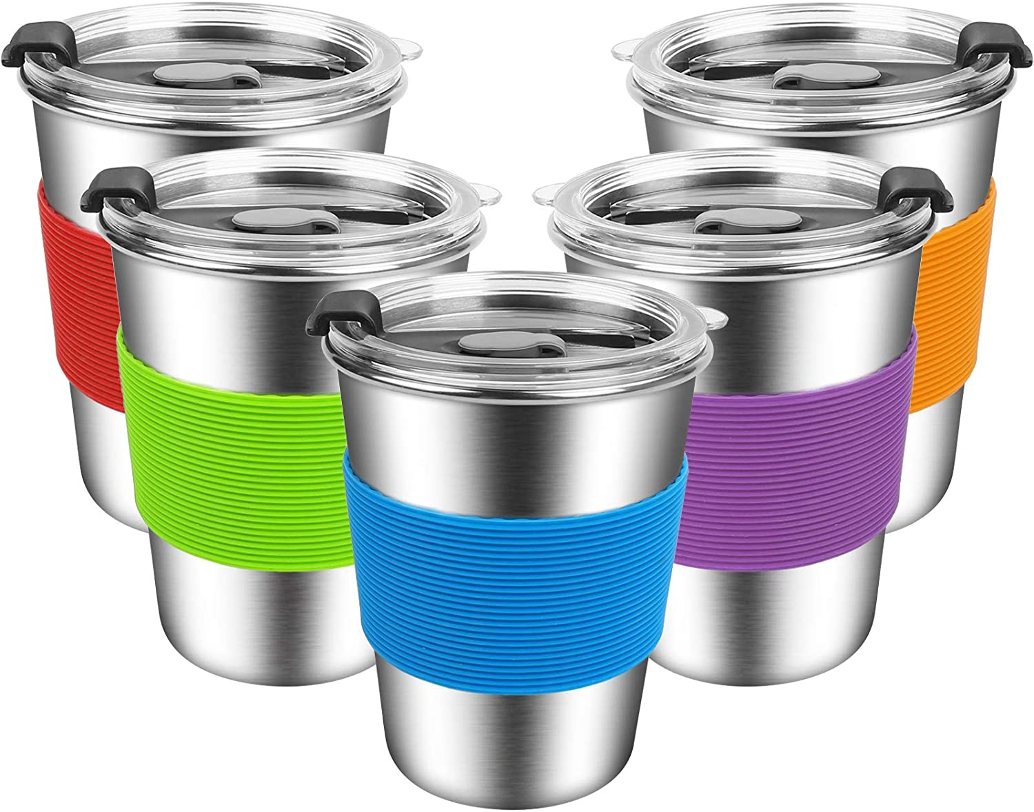 ShineMe Kids Stainless Steel Cups, Kids Metal Drinking Glasses with Lids and Sleeves, 12oz Reusable Water Tumbler for Children and Adults, Apply to Indoor and Outdoor (5 Pack 12 oz)