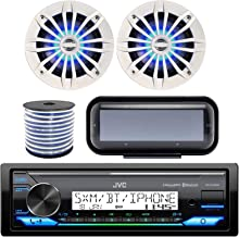 """Single DIN in-Dash Marine Boat Bluetooth Radio USB AUX Receiver Bundle Combo with Pair of White Enrock 6.5"""" 2-Way LED Speakers + Stereo Waterproof Cover + 18g 50FT Marine Speaker Wire"""