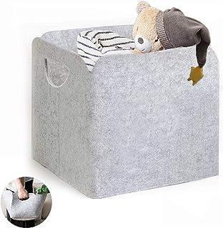 DZSEE Boîtes de Rangement en Tissu, 30x30cm Panier de Rangement Feutre épaissi, Panier de Rangement Gris, Pliable avec Poi...